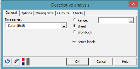 time series dialog box 1