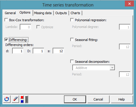 time series transformation dialog box 4